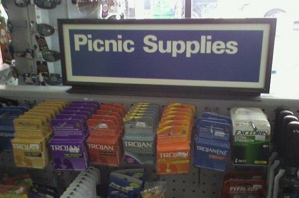 picnic supplies sign